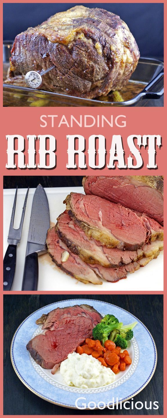 This delicious, tender standing rib roast will impress your guests and satisfy your desire for red meat. Easy to make, just garlic, salt and pepper top the roast, which is cooked long over low heat for tender, juicy beef.