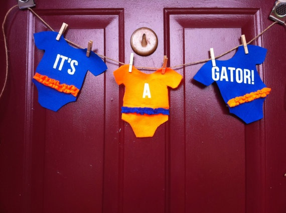 Cute idea for baby shower.... For Jenn ;0): Babies, Baby Love, Idea, Pennant Banners, Felt Pennant, Florida Gator, Gator Felt, Baby Shower, Baby Gator