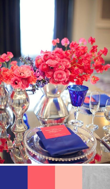 In 2014 look for these beautiful tablescape colors. Sapphire Blue, Deep Coral, Peach & Silver (could easily swap out the silver for gold) #colorpalette