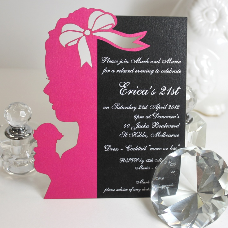 Laser cut 21st invitation, the outline was designed to look like the birthday girl when she was a little girl