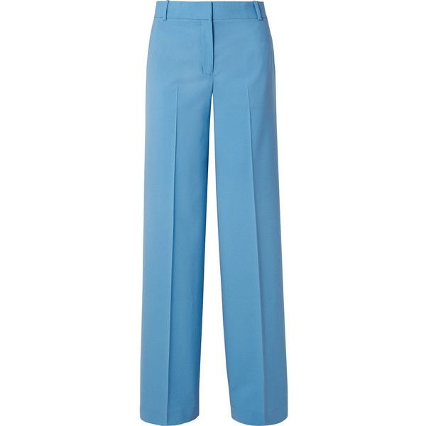 Theory Piazza wool-blend wide-leg pants (1,120 PEN) ❤ liked on Polyvore featuring pants, trousers and light blue