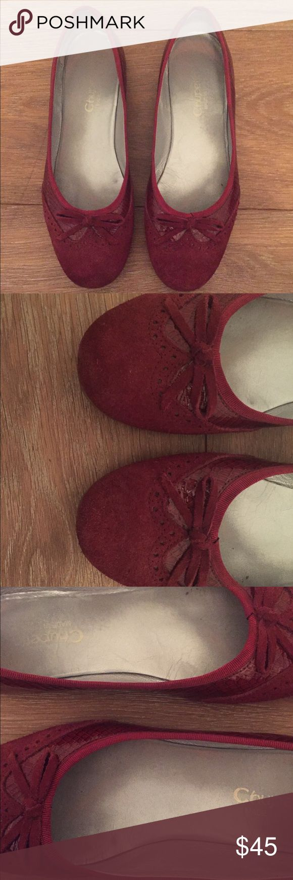 Gorgeous leather Italian shoes Very pretty Italian leather shoes. They are a great, deep shade of red. Looks great with everything! Chupetto Shoes Flats & Loafers