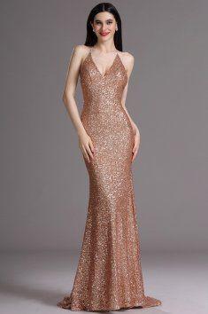 Plesové šaty s flitry zlaté špagetová ramínka za krk hluboký výstřih na zádech vestavěná podprsenka délka 155 cm