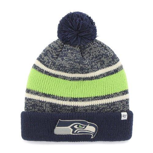 7cd360e40af Seattle Seahawks 47 Brand Tri-Tone Fairfax Cuff Knit Poofball Beanie Hat Cap