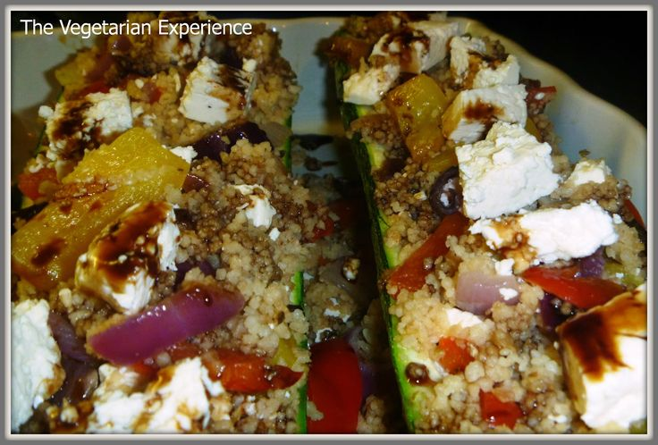 The Vegetarian Experience: Couscous, Vegetable and Feta Cheese Stuffed Marrow