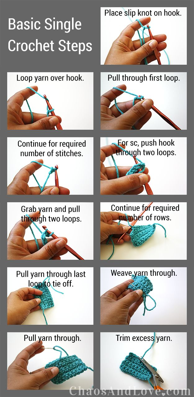 Basic Single Crochet   chaosandlove.com #crochet #tutorial