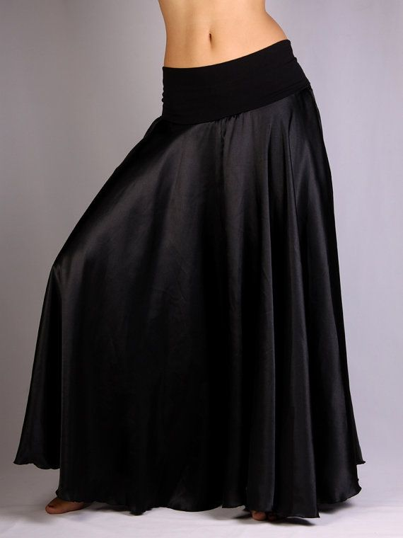 Claire Long Skirt in black satin and black lycra by PoisonBabe, £58.00