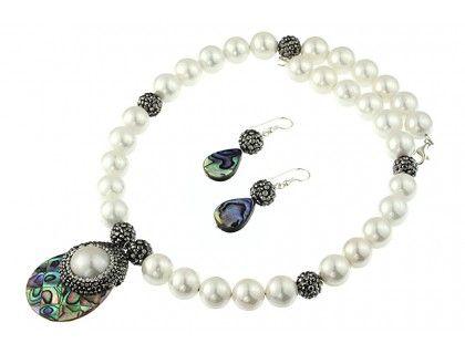 Set impunator din sidef Paua, perle de Mallorca si argint