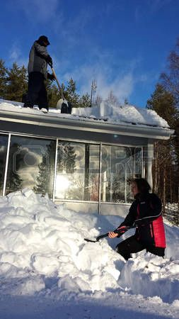 #Cleaning #snow from #roof #winter #Sweden