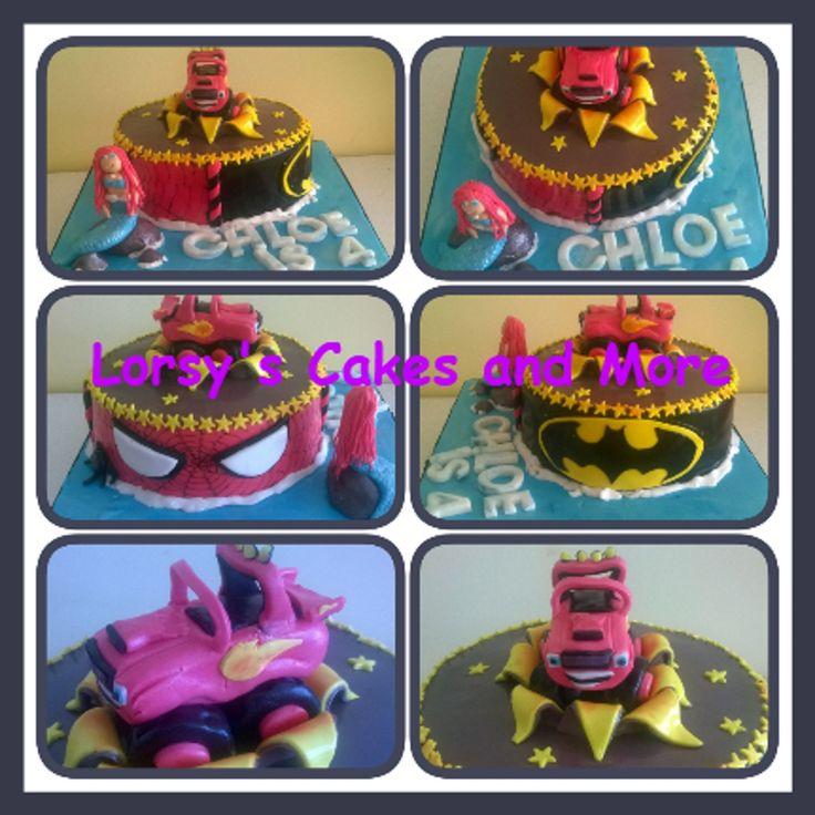 Mash up Birthday Cake....Blaze, Spiderman, Superman and Ariel