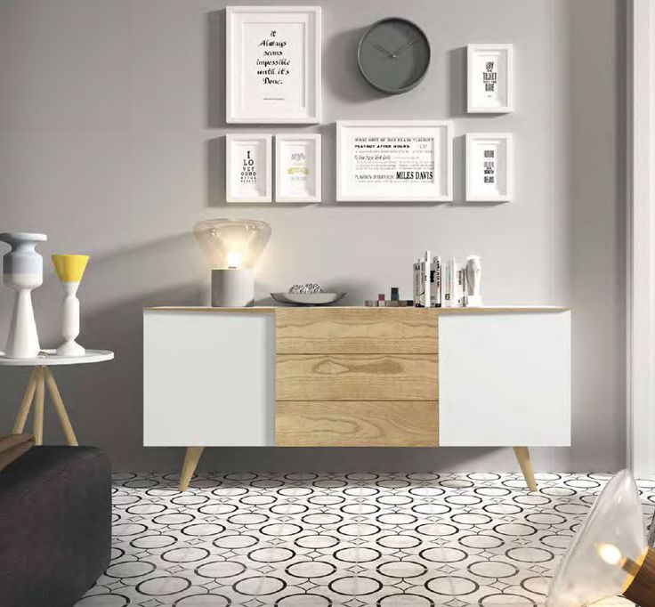 Buffet bahut contemporain couleur chêne clair et blanc laqué SIBI