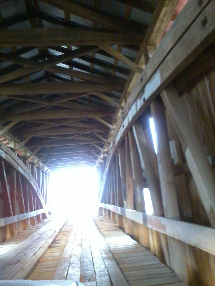 Indiana covered bridge.  My original photo, taken during covered bridge festival tour.  From the front seat of my mom's car :)
