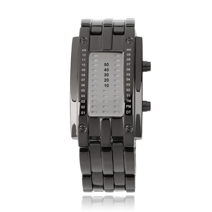 Luxury Binary Unisex Digital LED Wrist Watch Rectangle Dial Stainless Steel Sale