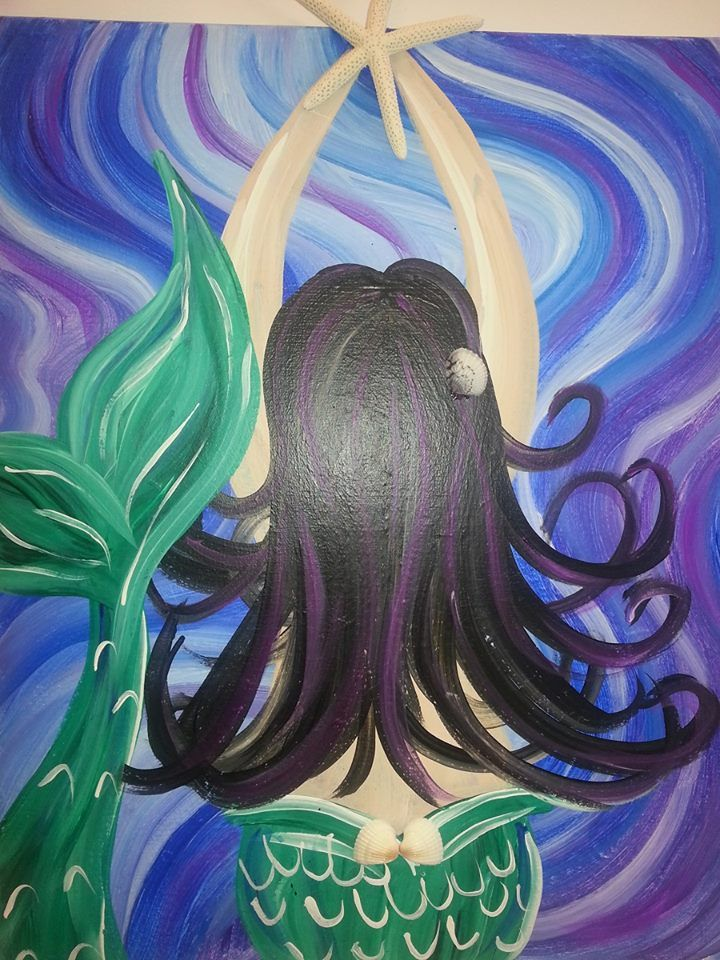 Mermaid - Painted Conch - Canvas Acrylic Painting - Beach Painting