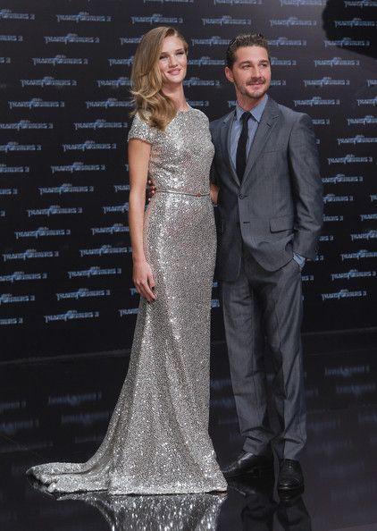 Rosie Huntington-Whiteley and Shia LaBeouf   Her AMAZING sparkly dress!