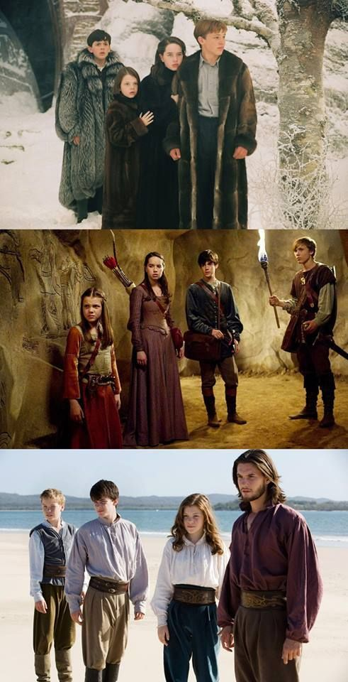 The Lion, The Witch, And The Wardrobe. Prince Caspian. The Voyage of the Dawn Treader. They've grown up so much over the movies