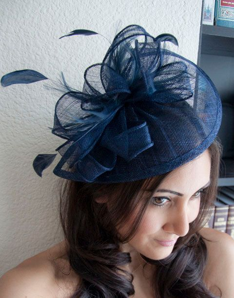 "Spring Racing - Navy Blue Fascinator - ""Penny"" Mesh Hat Fascinator with Mesh Ribbons and Navy Blue Feathers"