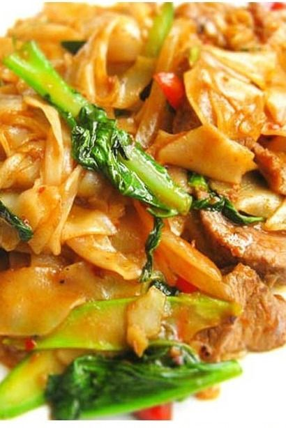Thai Drunken Noodles - There isn't a drop of alcohol in this dish — the name refers to how much you'll want to drink to combat the heat. We suggest a nice cold beer or sparkling wine.