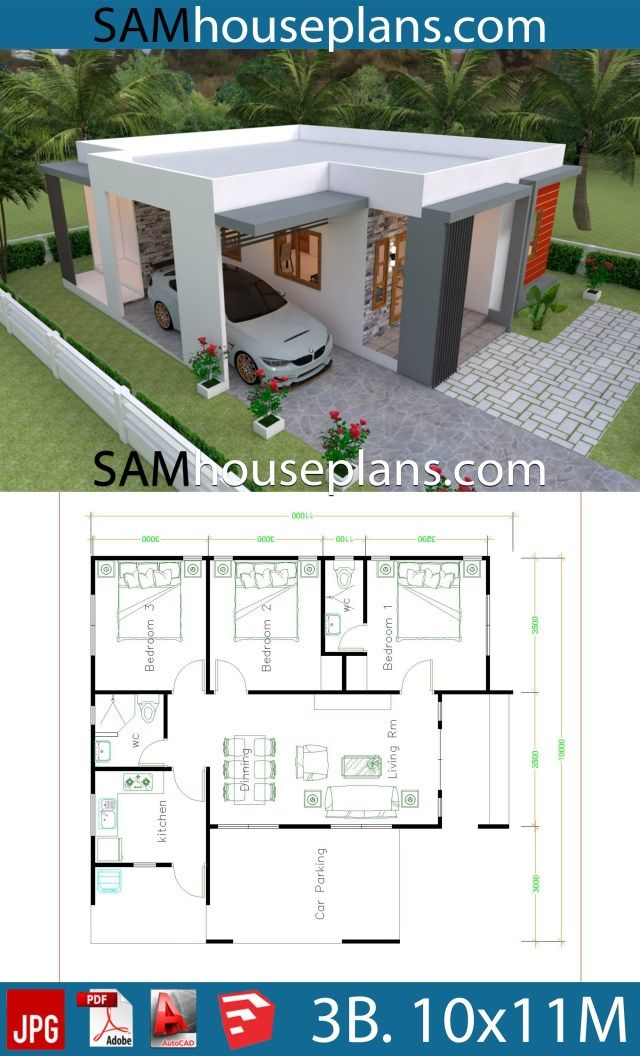 House Plans 10x11 With 3 Bedrooms Sam House Plans Modern Bungalow House Beautiful House Plans My House Plans