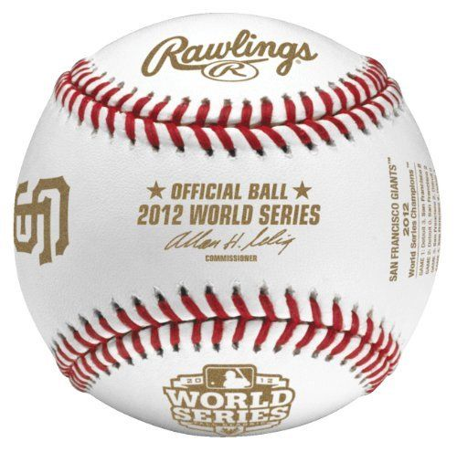San Francisco Giants 2012 World Series Championship Commemorative Baseball in Cube by Rawlings. $18.99. San Francisco Giants Logos and scores of all 4 games. Packaged and sealed in an official Rawlings cube. Official 2012 World Series Championship Baseball. This is perfect for your San Francisco Giants fan! Packaged in a cube, SFO Giants logo with all 4 games scores inscribed on baseball.