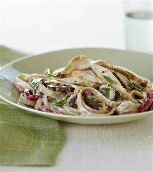 Chicken with Creamy Garlic Pasta:  This is one of my favorite recipes from the new Joy Fit Club book! A delicious, filling pasta dinner for under 450 calories.  Photo Credit: Lucy Schaeffer