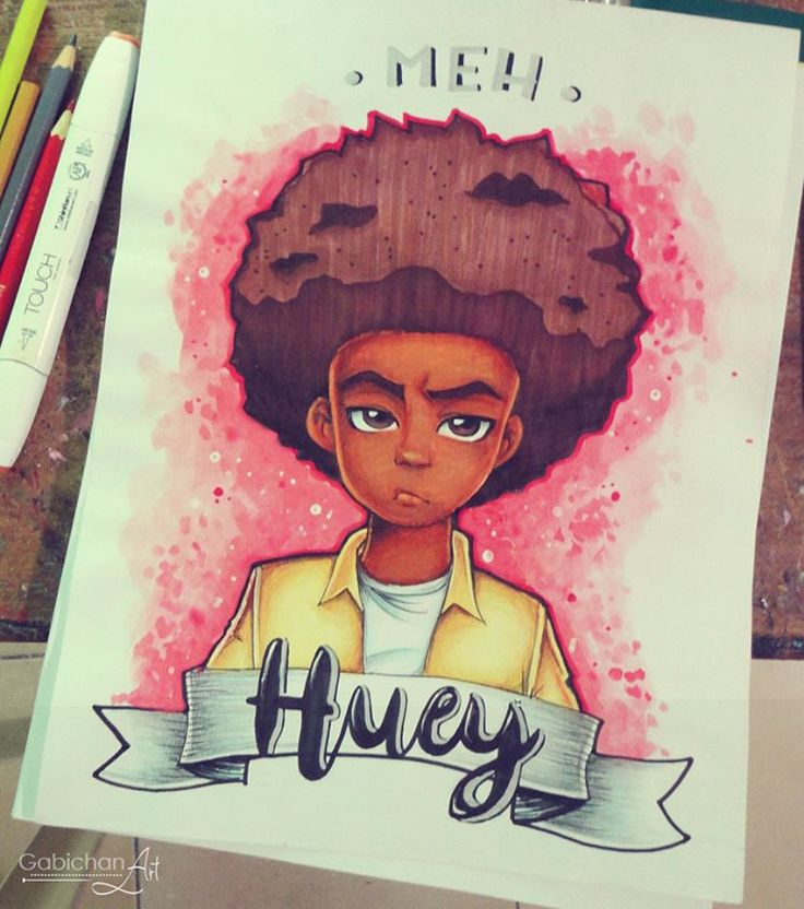 Because I love The Boondocks and I love Huey ♥  #traditionalart #traditionaldrawing #drawing #traditionalfanart #fanart #theboondocks #hueyfreeman #hueyfreemantheboondocks #afro #blackguy #cute #coloredpencils #markers #watercolors #meh #animatedseries #tribute