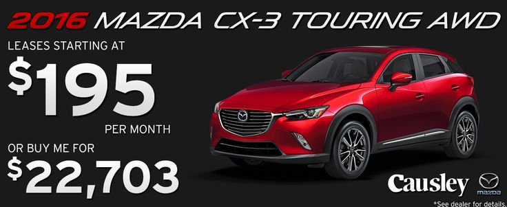 2016 Mazda CX-3 Touring AWD.  Leases starting at $195 per month or buy for $22,703 at Causley Mazda!  www.causleymazda.com