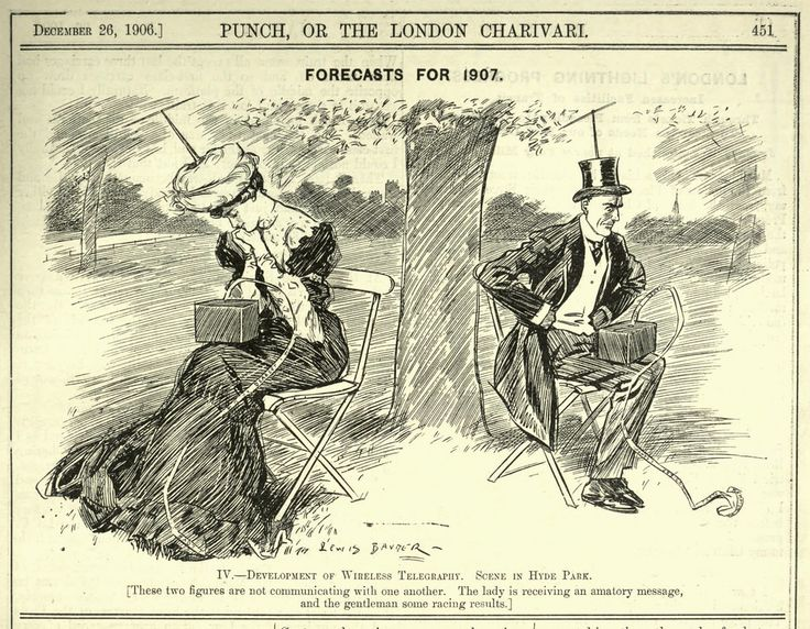 "A Vision of Isolating Technology from 1906 // Replace these ""wireless telegraphs"" with smartphones, update the dress a little, and this vision from a 1906 issue of Punch magazine could easily be for 110 years in the future. Part of a series of ""forecasts"" for the year to come, the caption reads: ""These two figures are not communicating with one another. The lady receives an amatory message, and the gentleman some racing results."" It's a reminder that the idea of technology leading to a…"