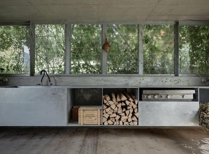 ~ great view + open kitchen + #concrete + #steel + wood tones ---love this #kitchen #design
