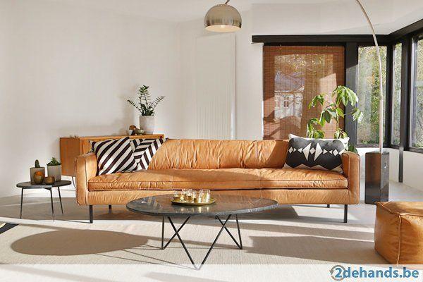 Nieuwe Cognac Lederen sofa 220cm/3,5zit - meerdere stuks