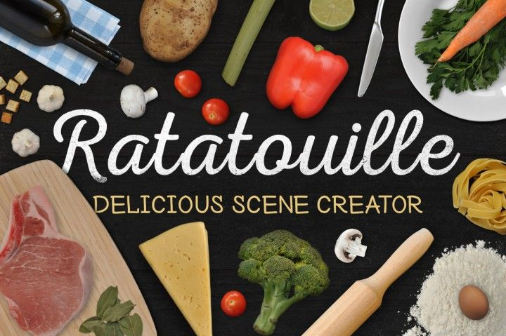 Don't buy stock photos make your own great food mockups! Ratatouille is a mockup scene generator based on professional high-resolution photos. 96 objects! Great for food bloggers! (affiliate link)