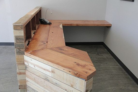 Reclaimed wood reception desk or retail cash wrap by for Reclaimed wood dc