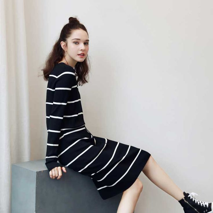Quintina New Fashion Women Dress V-Neck Striped Autumn Dress Vestidos Office Knee-Length Dress Boho Casual Dress