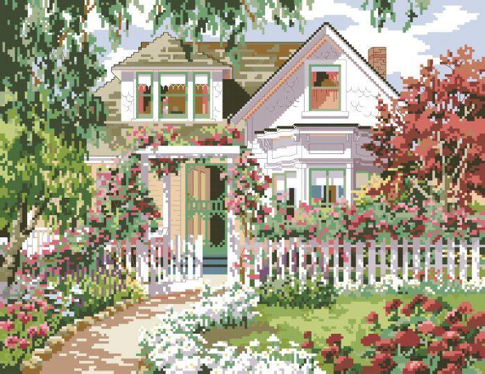 Рисунок на канве для вышивки нитками 61332 Солнечный дом