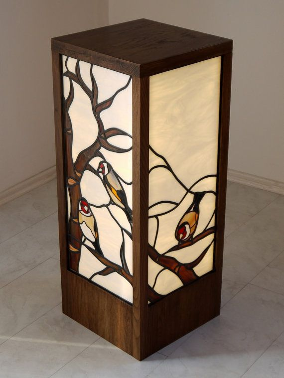 I've just read The Goldfinch by Donna Tartt so particularly like this! Goldfinch stained glass standing lamp by glasscreatures on Etsy