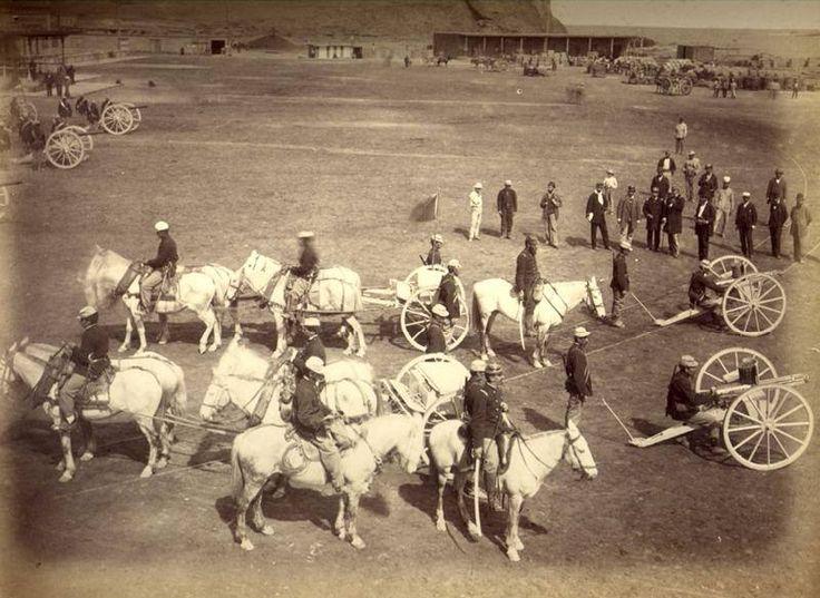 Arica. Regimiento de Artillería Nº2 , Batería de Ametralladoras Gatling, despues de la batalla por Arica 1880. Fotografía Díaz & Spencer.