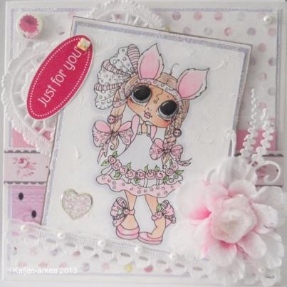Pretty Delicate Pink. She is so Cute - Sherri Baldy Image Card