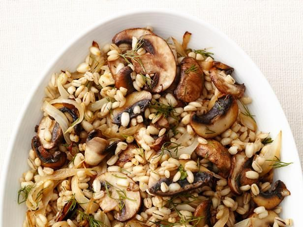 Mushroom Barley : Caramelize onions and add them to quick-cooking barley, then toss with mushrooms, dill and salt.