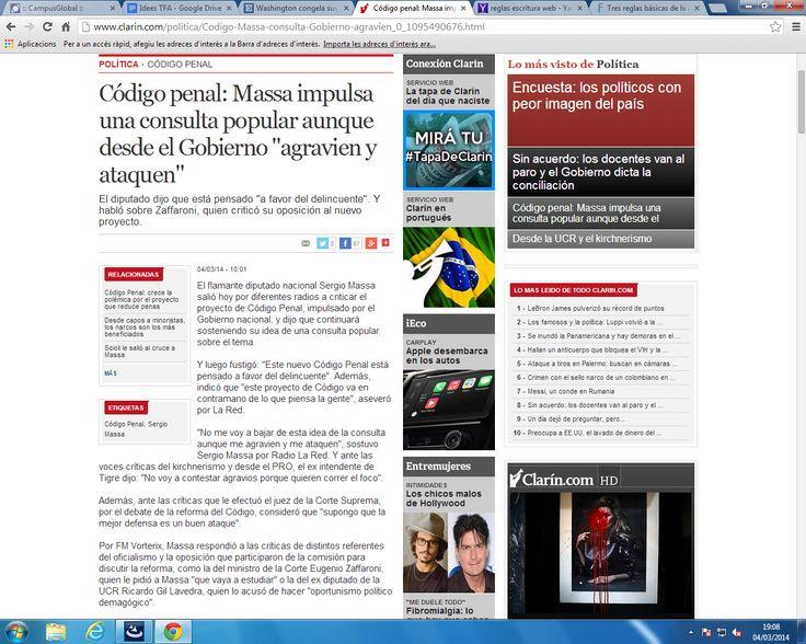 (Error escriptura web).El portal web del diari argentí Clarin no utilitzat mai enllaços en el text de les noticies. Tot i que al costat hi linka les noticies de referència crec que seria més adient que ho fes en el propi text per tal que els usuaris entresin més als enllaços.