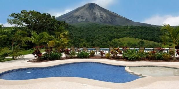 Pool and Volcano. What more could you ask for on vacation?! Costa Rica: At The Beaches, Ccbucketlist Cheapcaribbean, Beaches Resorts, Aren Volcanoes, Cheapcaribbean Ccbucketlist, Costa Rica Pools, Rica Cheapcaribbean, The Tables, Luxe Vacations