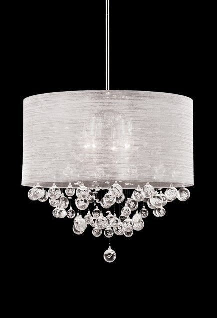 """New 4 Lamp Crystal Chandelier Pendant Dia 20"""" Silk Drum Shade Ceiling Light #Contemporary"""
