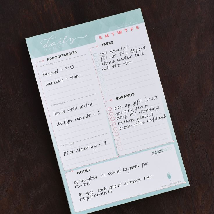 - DESCRIPTION - FEATURES - SPECIFICATIONS The Daily Docket organizational notepad from inkWELL Press is designed to get you organized and help streamline your planning. These sheets are perfect for th
