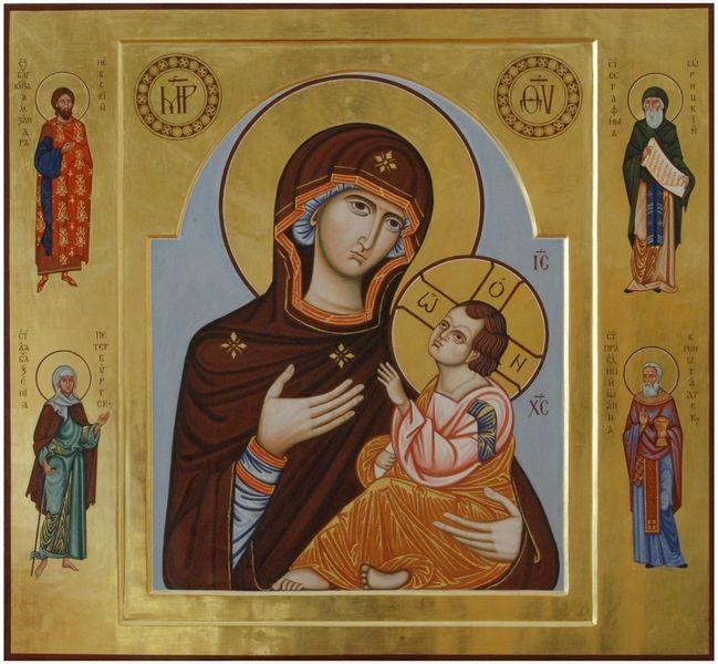 The Holy Virgin with Chosen Saints (St. Alexander Nevsky, St. Serafim of Vyritsa, St. Xenia of St. Petersburg, St. John of Kronshtadt. 2007