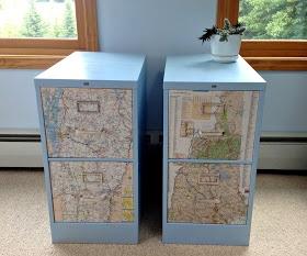 Fancy File Cabinet Decoupage Map