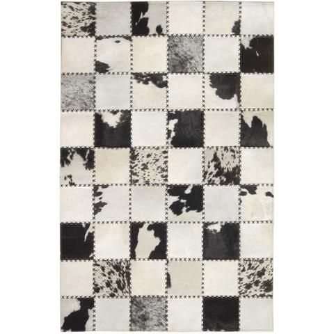 Madisons Black And White Cow Spot Square Pattern Patchwork Cowhide Rug Patchwork Cowhide Patchwork Cowhide Rug