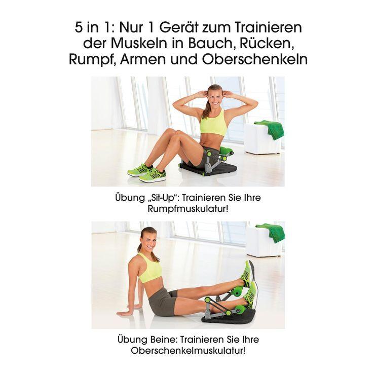 Original Swingmaxx Bauchmuskeltrainer: Training der Muskeln in Bauch, Rücken, Rumpf, Armen und Oberschenkeln:  Unzählige Übungsvarianten auf kleinstem Raum, Schwierigkeitsgrad mit Elastik- Widerständen individuell einstellbar Geeignet für Anfänger und Fortgeschrittene,  Mit stützenden Massagerollen ideal für das Muskeltraining, zu Hause Platzsparend zusammenklappbar