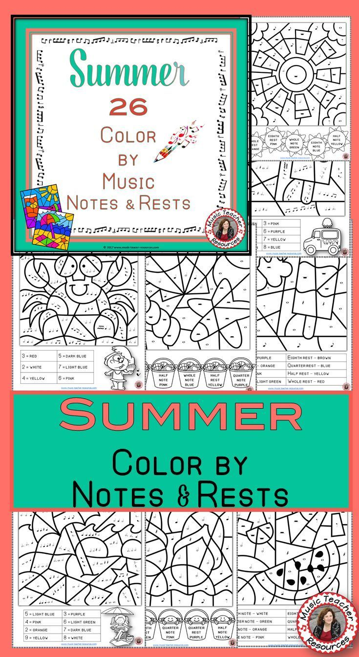Music Coloring Pages: 26 Summer Color by Music Sheets | Teaching ...