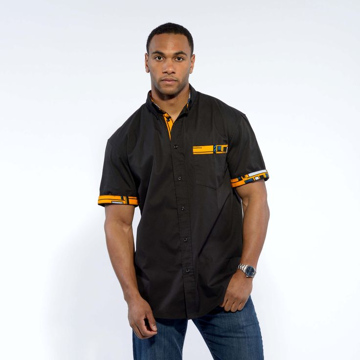 www.cewax a selectionné pour vous ces vêtements hommes ethniques, Afro tendance, Ethno tribal Men's fashion, african prints fashion - Dami Black Button-Up African Print Trim Shirt (Yellow/Blue)