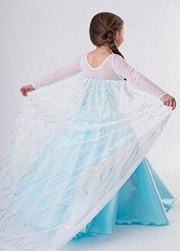 iPretty Vestido infantil Disfraz de Disney Princesa de Elsa de Reino de Hielo/Frozen para Fiesta Carnaval Cosplay para Niñas Talla: XL(120-130cm): Amazon.es: Equipaje