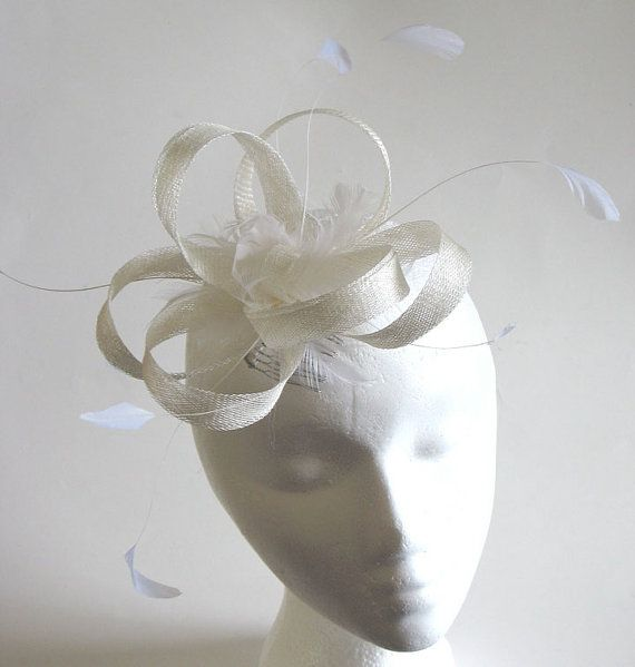 White sinamay bridal fascinator  sinamay by alicehartcouture